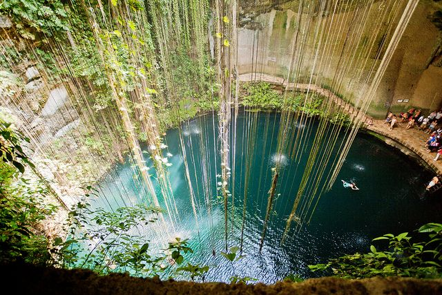 Cenotes Mexico -in the Yucatan peninsula. A huge subtearranean universe of large caverns, karst tunnels, and sink holes, some up to hundreds of feet deep.