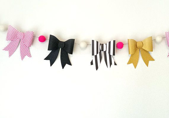 Kate Spade inspired bow garland is perfect for any event or just to give your room some extra preppy sparkle! Each banner has 10 feet of twine