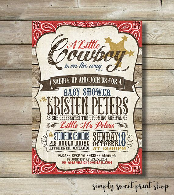 Little Cowboy Baby Shower Theme Part - 29: Cowboy Baby Shower Invite Invitation Boy By SimplySweetPrintShop
