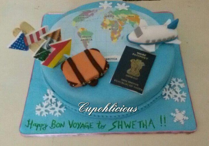 A bon voyage themed butterscotch cake ! All edible !!