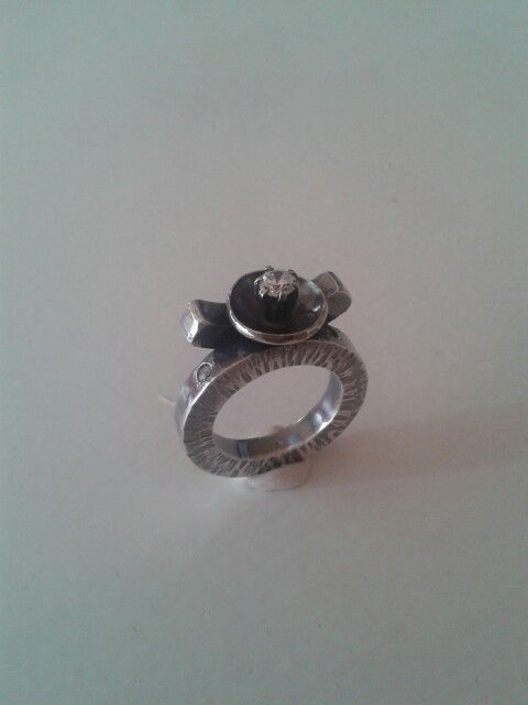 Silverring with three stones Lenesommer.dk