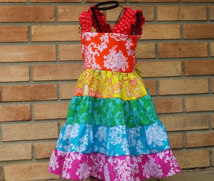 ROYGBIV Girls Over the Rainbow Twirl Sundress Dress  12m 18m 24m 2T 3T 4T 5 6. $39.95, via Etsy.