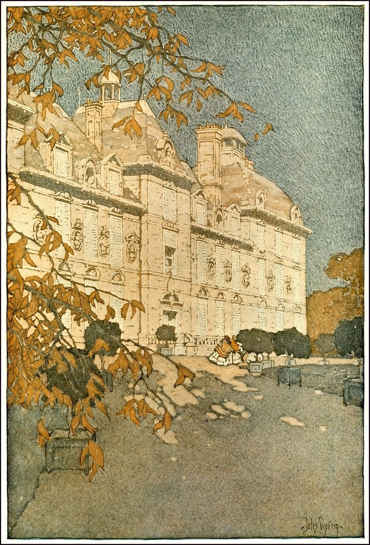 Watercolor art history - Jules Guerin I From The Chateaux Of Touraine Published 1906 I Guerin Was Reknown For Watercolor And Gouache Architectural Illustration