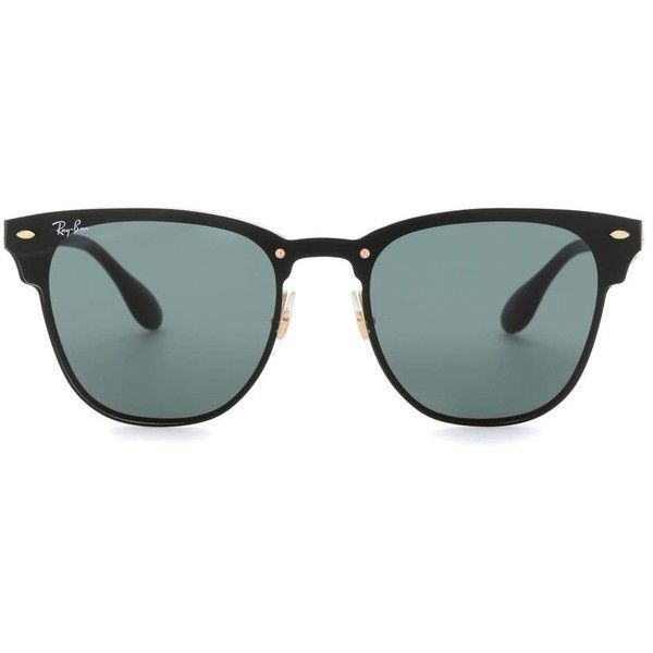Ray-Ban RB3576 Blaze Clubmaster Sunglasses ($180) ❤ liked on Polyvore featuring accessories, eyewear, sunglasses, black, ray ban sunglasses, ray ban sunnies, ray ban glasses and ray ban eyewear