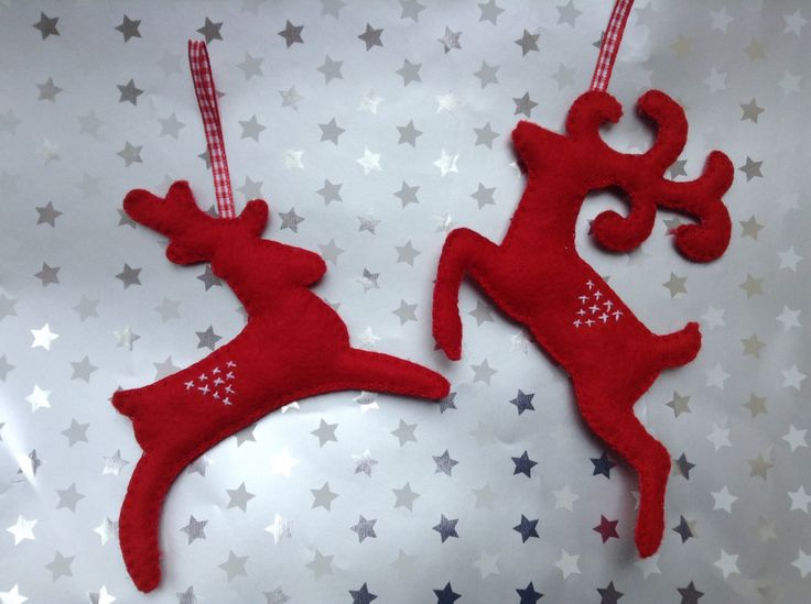 A personal favorite from my Etsy shop https://www.etsy.com/listing/235485501/felt-reindeer-hanging-decorations-in-red