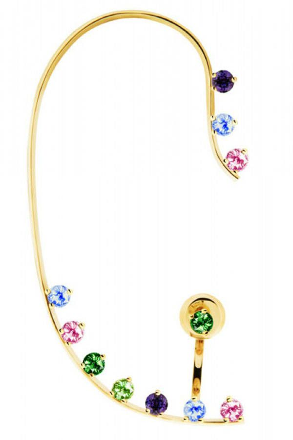 Shop #TheLIST: Jewelry Box - Delfina Delettrez pastel stone gold wire ear cuff