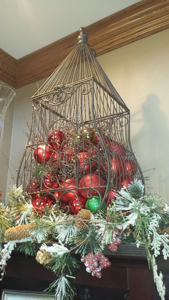 design by Suzanne. Christmas bulbs, bird cage, Christmas decorations.