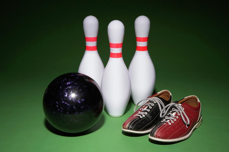 Bowling Ball, Bowling Shoes And Bowling Pins