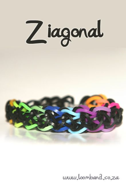 Ziagonal Loom Band bracelet tutorial instructions and videos on hundreds of loom band designs, Leading online Loom band supplies in SA, Next day delivery