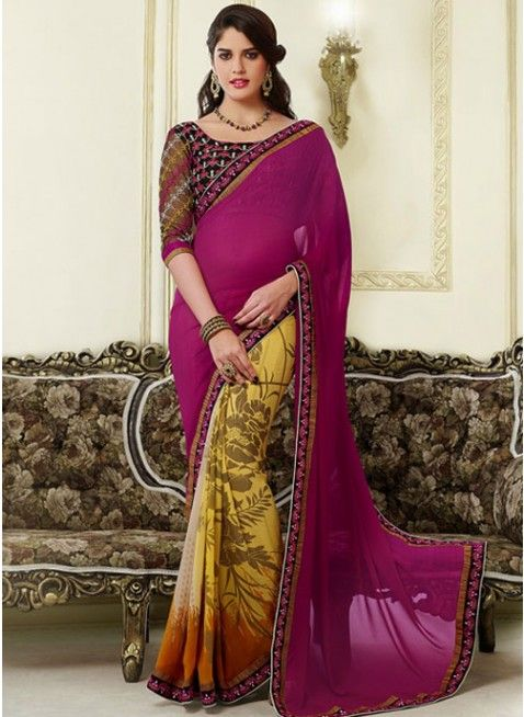 Lush Magenta & Yellow Embroidered #Saree #designersarees #clothing #womenswear #womenapparel #ethnicwear