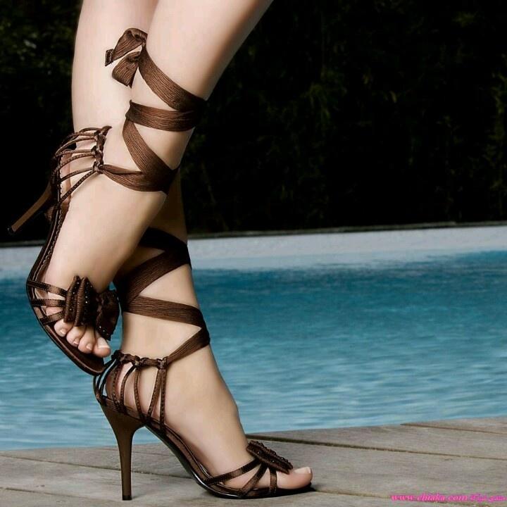 Brown ribbon shoes