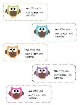 owl miss you end of the year gift tags :)