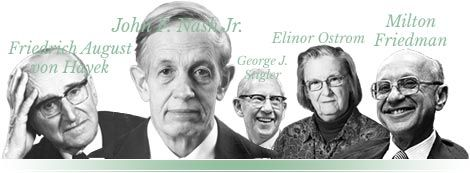 Collage: Friedrich August von Hayek, John F. Nash Jr., George J. Stigler, Elinor Ostrom and Milton Friedman
