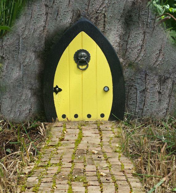 Fairy Doors, Faerie Doors, Gnome doors, Elf Doors, Hobbit Doors 5 inch yellow