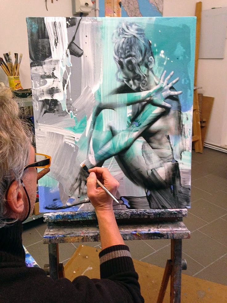 Pier Toffoletti painting in his art studio #workspace. #atelier