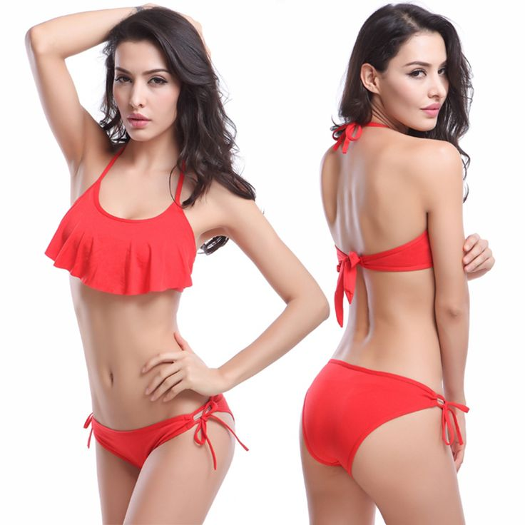 Cheap bikini red, Buy Quality bikini designer directly from China bikini cheap Suppliers: Women Bikinis 2016 summer new arrival falbala swimsuit maillot de bain femme sexy triangle bikinis set push up biquini DM055