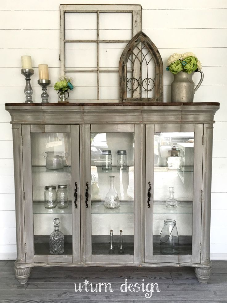 Portfolio Grey Hutch Buffet China Cabinet By Uturndesign