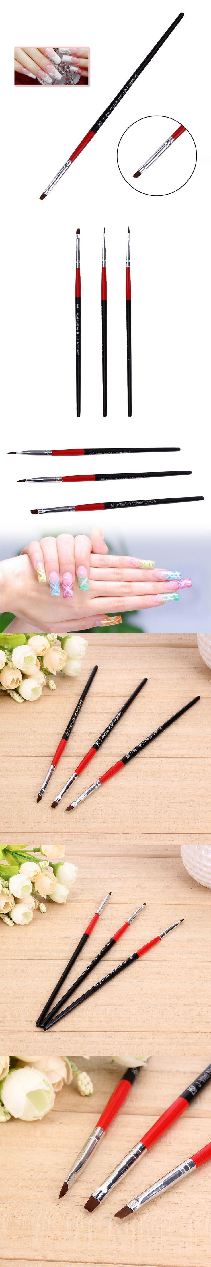 3pcs/set Nail Art Painting Pen Set Nail Brushes Gel Polish Beauty Nail Polish Pen Tools Wood Handle 3D Design Drawing Line Brush