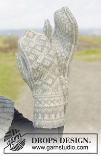 "Silver Dream Mittens Gestrickte DROPS Handschuhe in ""Karisma"" mit Norwegermuster. ~ DROPS Design DROPS 157-8"