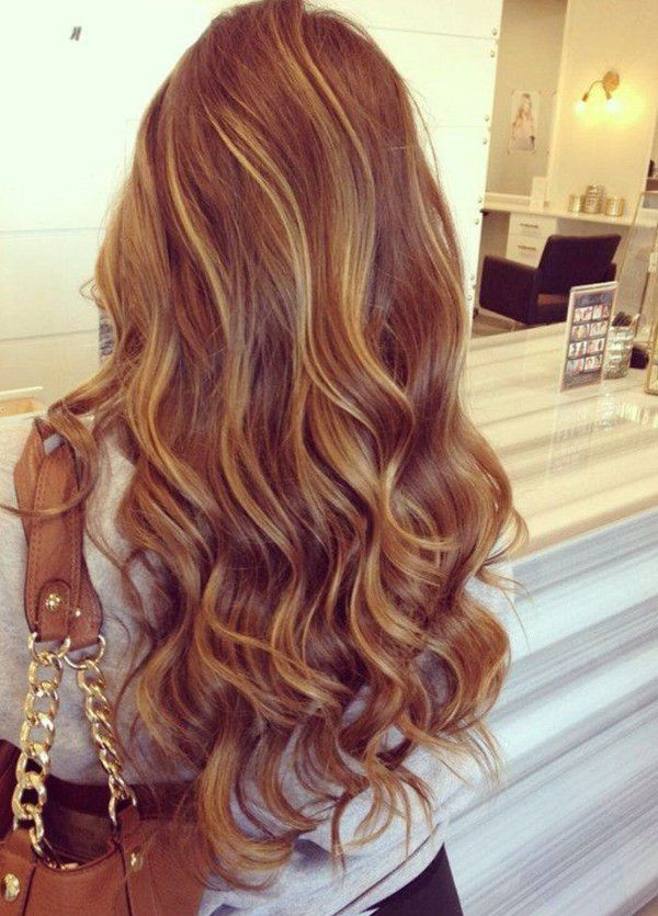 Golden brown ombre & balayage hair with caramel highlight, hair color trend of 2015