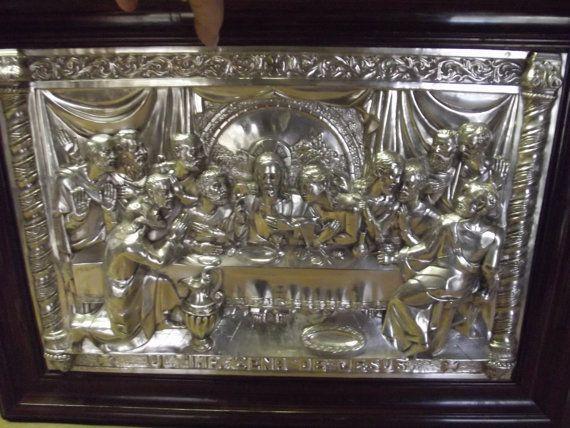 1908 ULTIMA CENA De JESUS The Last Supper Repoussé & by Kats3meows, $995.00