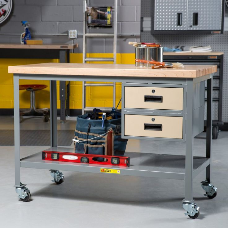 Little Giant Butcher Block Top Mobile Workbench with Drawers - Workbenches at Hayneedle