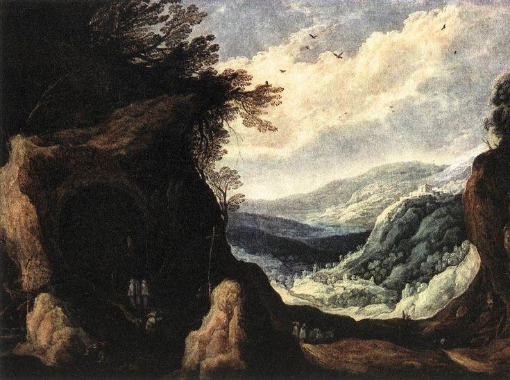 Joos de Momper the Younger (1564 - 1635). Горный пейзаж с монахами.1608.