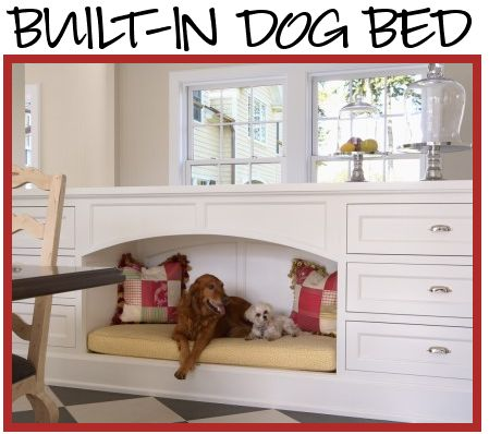 Built in dog/cat bed. Awesome idea for pet lovers, would be great in a mud room or family room. Wonder if the pets would stay put in their custom space? If one those drawers pulled out with built in food/water bowls…ideal!
