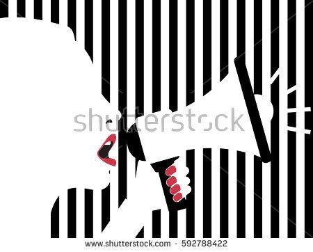Woman shouting in megaphone - Vector illustration.