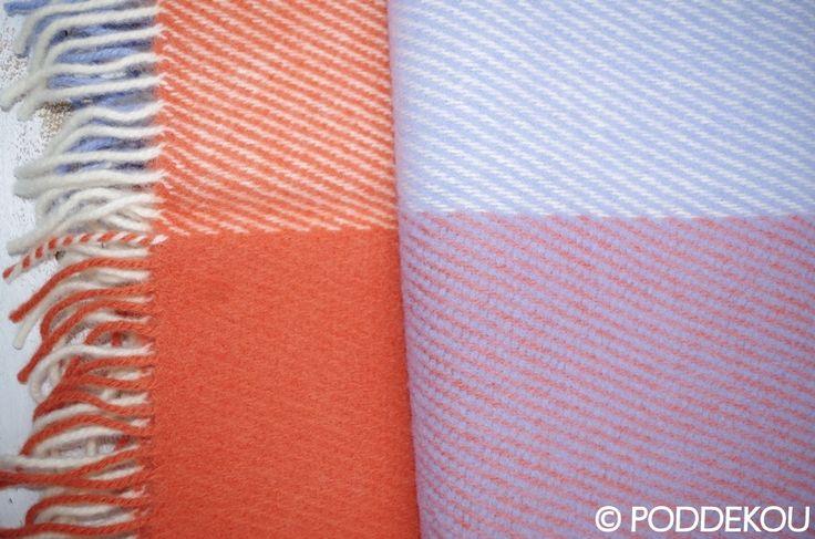 Oranžovo-fialová deka z ovčej vlny