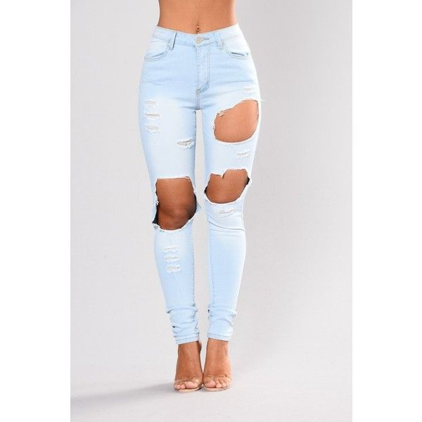 Kayley Skinny Jeans Light Blue ($35) ❤ liked on Polyvore featuring jeans, distressed jeans, destroyed skinny jeans, ripped jeans, high waisted jeans and distressed skinny jeans