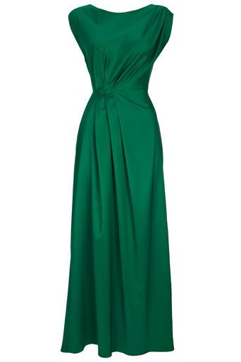 Emerald Green Pleat Maxi Dress