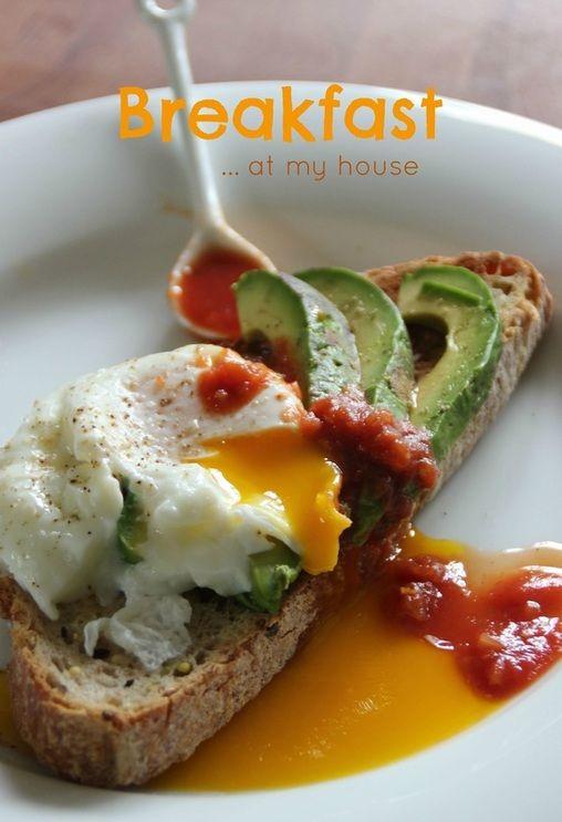 Sourdough with Avocado, Poached Egg, and Salsa