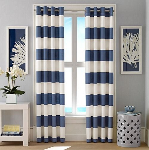 Nautical Cabana Stripe Curtains... http://www.completely-coastal.com/2016/10/coastal-nautical-window-treatments.html