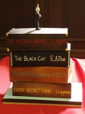 Stack-of-Books Cake made by Duff Goldman for the 200-year celebration of Enoch Pratt at Enoch Pratt Free Library, Baltimore