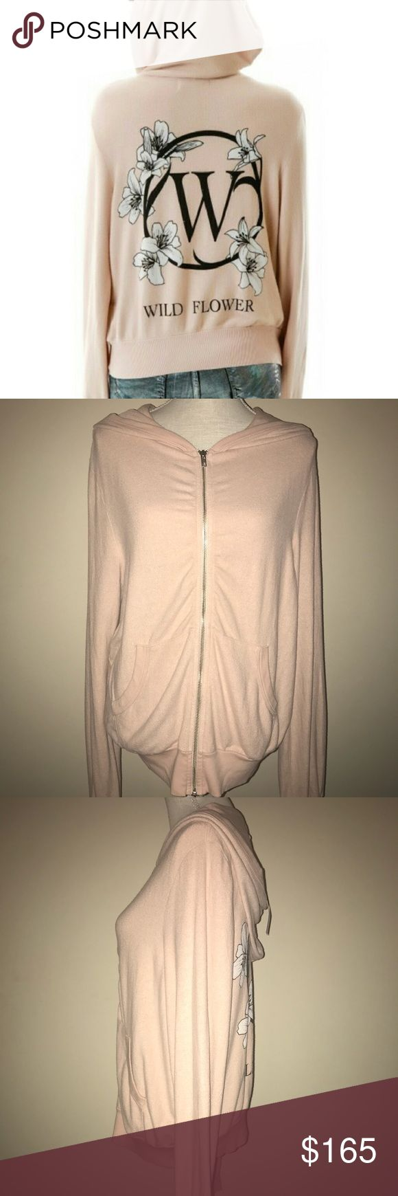 """🆕 Wildfox Wild Flower Girl Malibu Zip-Up size M NWT Wildfox Couture 'Wild Flower Girl' Malibu Zip-up hoodie. Size Medium. Baggy oversized fit. Approximate measured length is 25"""". Fabric Content: 47% rayon/47%polyester/6% spandex. Traditional Wildfox pre-pilled super soft fabric. The color is a nude/natural color. From the 'Daisy's Girl' collection/Great Gatsby theme. Please view all photos and ask any questions you may have prior to purchasing 💞  ❌No Trades❌   ⭐️Bundle & Save⭐️ Wildfox…"""
