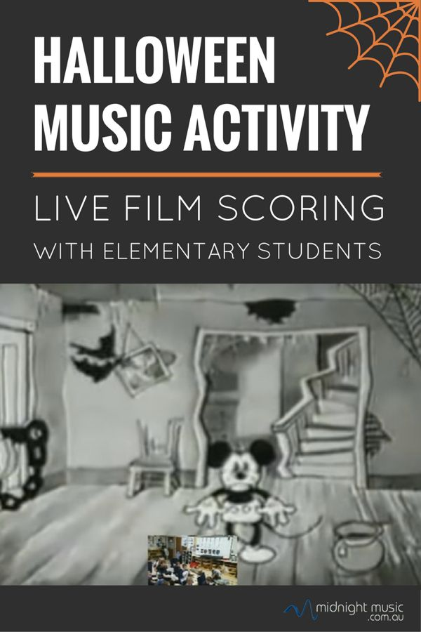 "Halloween music tech activity for elementary students - ""live film scoring"". Features a classic Mickey Mouse cartoon - The Haunted House - from 1929."