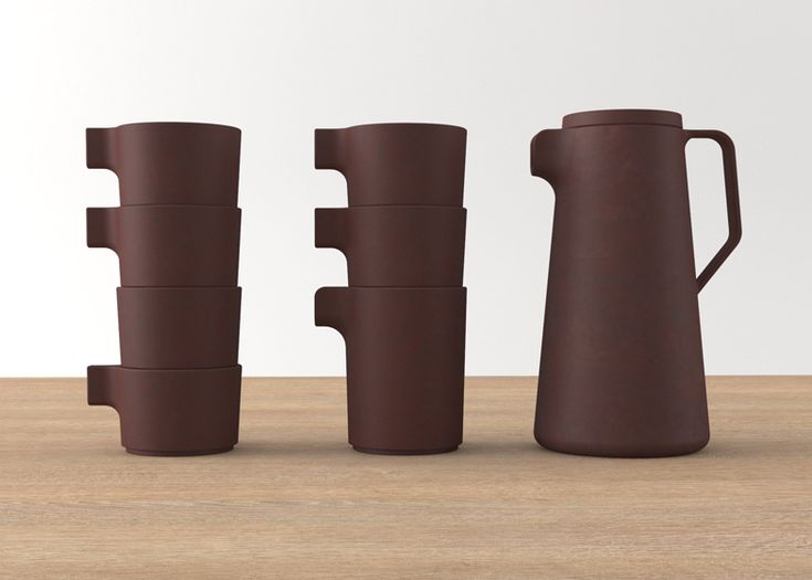 Silt collection of stackable tea sets (made of twice-fired, unglazed purple clay) by VW+BS Architecture and Design.