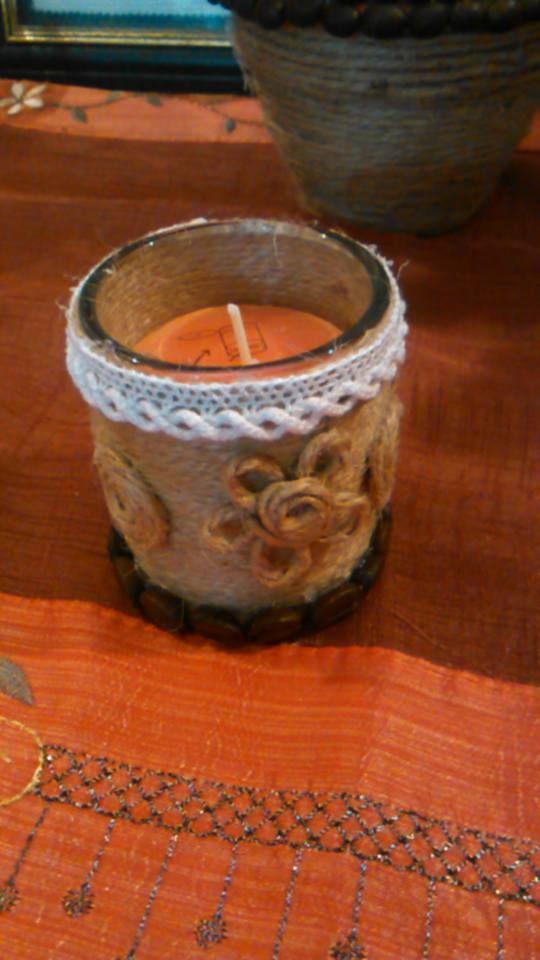 candela piccola  decorazione con corda juta e chicci di caffè