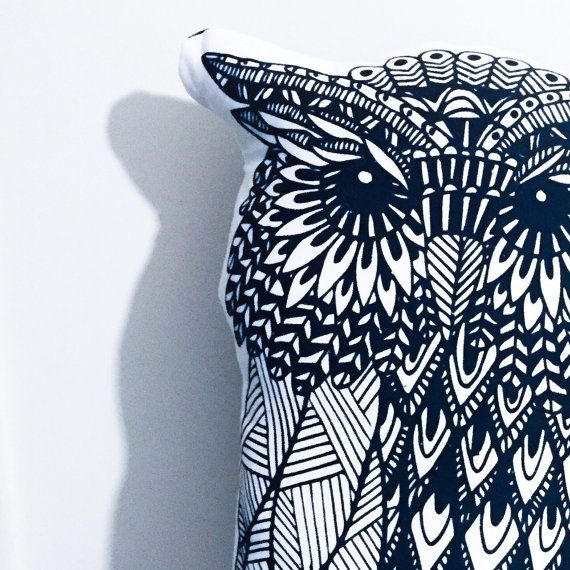 Designer Owl pillow by thetickledpinkfox on Etsy