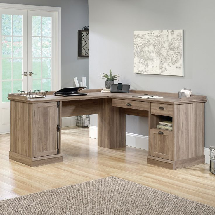 Sauder Barrister Lane L-Shaped Desk - The Sauder Barrister Lane L-Shaped Desk is a serious work station that gives you plenty of storage and more than enough counter space to setup a computer,...