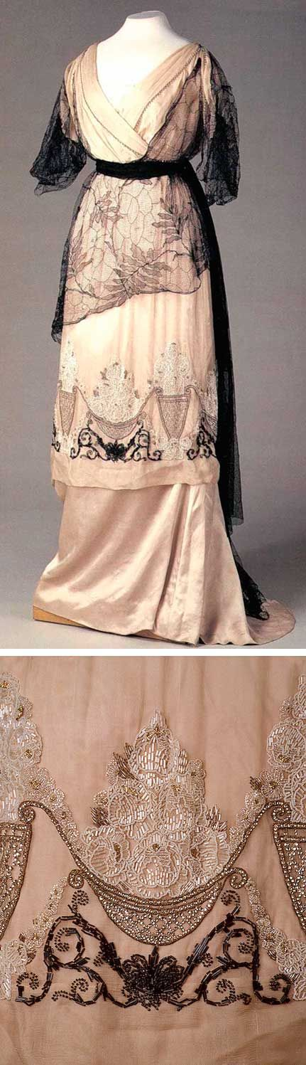 Evening dress, Nadezhda Lamanova's workshop, Moscow, 1910s. Satin, chiffon, mACHINE LAcE, tulle, paste, glass beads and bugles; embroidered.