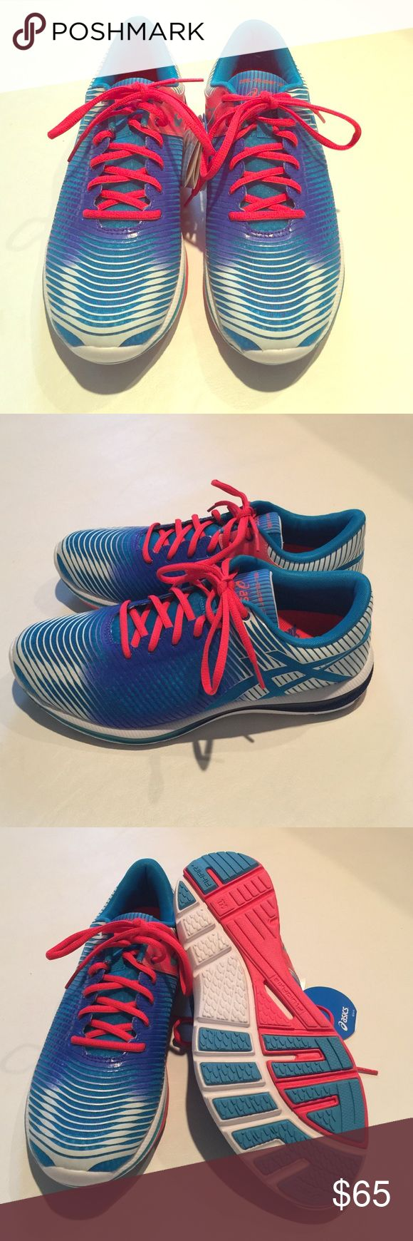 ASICS:  (STYLE:  Gel) Women's Running Shoe ASICS:  (STYLE:  Gel) Women's Running ShoeS. COLOR:  White/Cobalt Blue/Aqua Blue/Bright Red/. Very soft mesh outer layer.  BRAND NEW!  NEVER USED!  IN ORIGINAL BOX! Asics Shoes Athletic Shoes