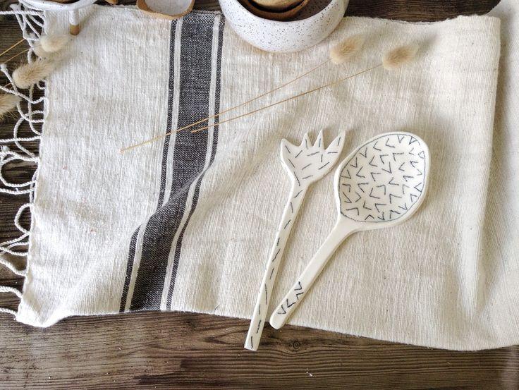 Ceramic spoon and fork set Makerie Ceramics Auckland, New Zealand Www.makerieceramics.com