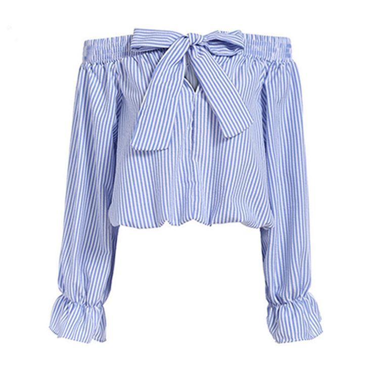 Sexy Off Shoulder Blouse 2017 Summer Women Bow Slash Neck Long Sleeve Blue Vertical Striped Shirt Blusas Fashion Tops Plus Size