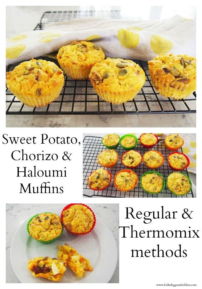 Sweet potato, chorizo & Haloumi Muffins