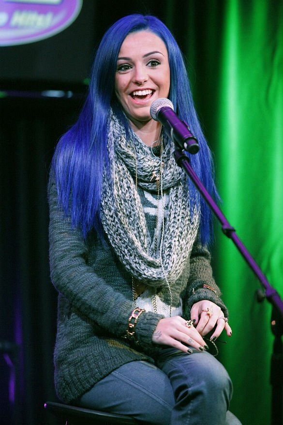 PHOTOS: Cher Lloyd Debuts Electric Blue Hair At US Radio Appearance