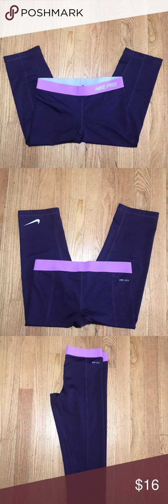 Nike Dri-Fit workout pants! Size S! Purple Dri-Fit Workout Leggings! 3/4 length. Size small. Lightly worn. Great addition to a spring/summer wardrobe! Nike Pants Leggings
