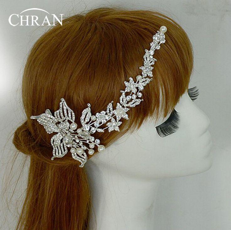 Chran Tiara Bloem Imitatie Parel Decoratie Voor Haar Strass Bruids Haar Baret Accessoires Hoofd Ketting Sieraden