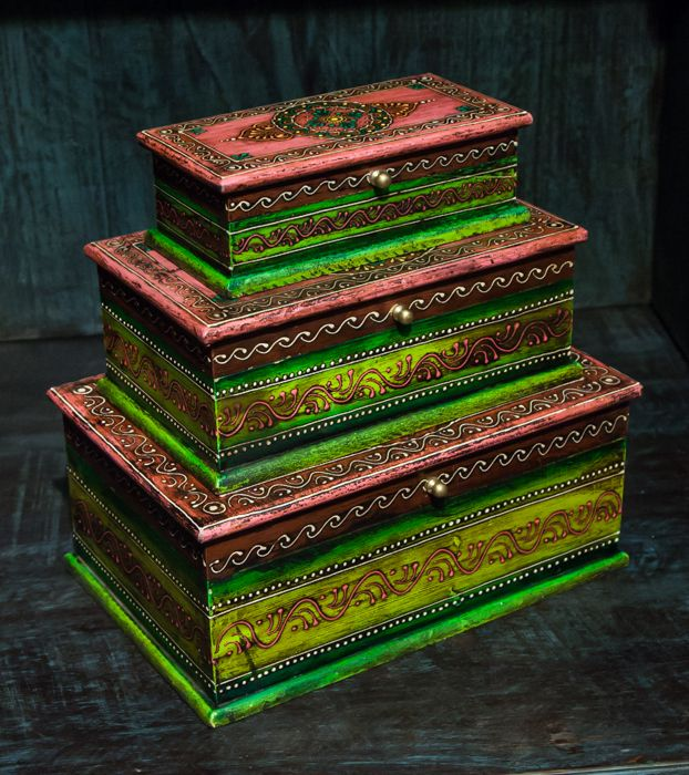 Шкатулка декоративная (набор из3шт), палисандр, латунь / Шкатулки / ПРЕДМЕТЫ ИНТЕРЬЕРА / мебель из массива, Индийская мебель, Восточная мебель
